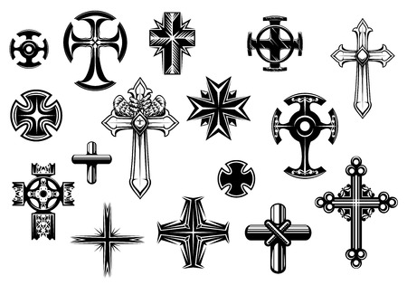 Religious crosses set isolated on white background for religious, tattoo and christianity design