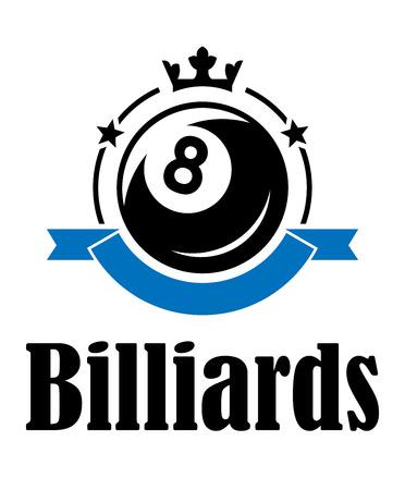 Billar o pool emblema con bola, corona, bandera, estrellas y el texto Billar. Adecuado para el deporte, la recreación y el diseño del logotipo Foto de archivo - 31016867