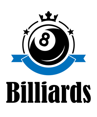 Billiards or pool emblem with ball, crown, banner, stars and text  Billiards. Suitable for sport, recreation and logo design  Vector