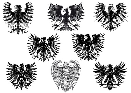 Heraldic royal medieval eagles for retro heraldry design isolated on white background Vector