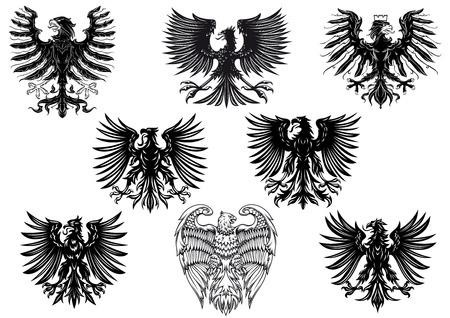 Heraldische koninklijke middeleeuwse adelaars voor retro heraldiek ontwerp geïsoleerd op een witte achtergrond