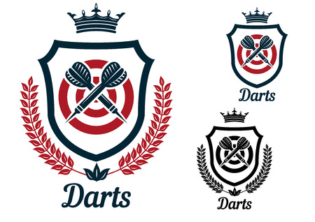 Darts emblems or signs set with dartboard, crown, heraldic shield, arrows, laurel wreath, crown and text  Darts, for sport and recreation logo design  Vector