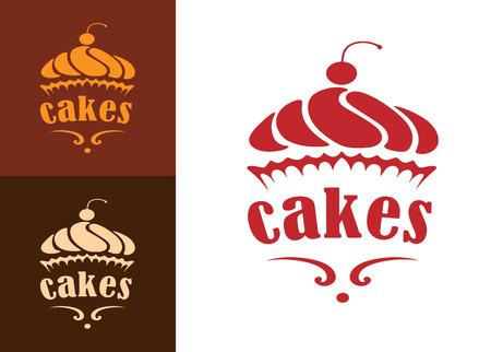 음식, 카페 또는 레스토랑 메뉴 디자인에 크림 디저트 케이크 빵집 로고 또는 상징 일러스트