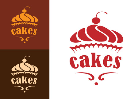 Cream dessert cakes bakery logo or emblem for food, cafe or restaurant menu design Çizim