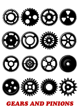 Gears and pinions symbols set isolated on white background for technology, industrial, engineering or logo design Vector