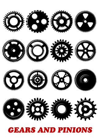 Zahnräder und Ritzel Symbole gesetzt isoliert auf weißem Hintergrund für Technologie, Industrie, Maschinenbau oder Logo-Design