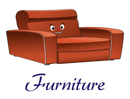 Cartoon smiling sofa or couch furniture isolated on white background for interior design Vector