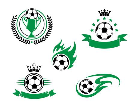 Fútbol y fútbol emblema o logotipo con la pelota, taza, cinta corona de laurel y la corona. Adecuado para divertirse y la reconstrucción de diseño Logos
