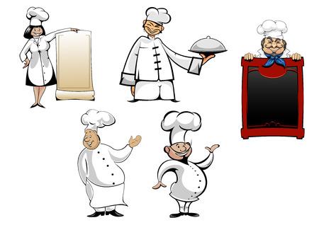 chef caricatura: Chefs y cocineros de la historieta caracteres establecidos. Con el tablero del menú, cocinar toque y la bandeja o plato para cocina, la gastronomía, cafetería y restaurante de diseño Vectores