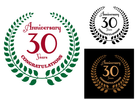 30 years: Anniversary jubilee celebration emblem with laurel wreath and text  Anniversary 30 years Congratulations Illustration