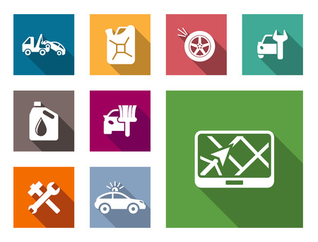 Car service flat icons set with car towing truck, gasoline, jerry can, oil, flat tire, spanner  or wrench, car painter and navigation Vector