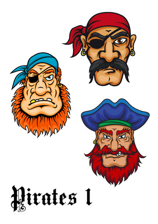 Cartoon brutal captains, sailors and pirates set for piracy or adventures design Çizim