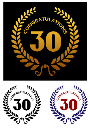 Anniversary jubilee celebration emblem with laurel wreath and text Congratulations. Suitable for jubilee celebration design Vector