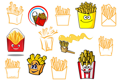 Cartoon french fries takeaway food designs set, for fast food, cafe, restaurant or logo design Vector