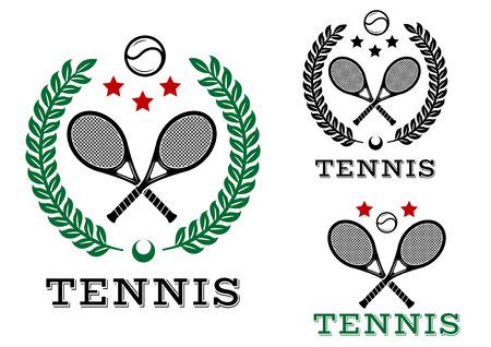 테니스 스포츠 엠블럼 및 텍스트 테니스와 기호입니다. 흰색에 격리. 레저, 대회, 스포츠, 로고 디자인에 적합합니다. 일러스트