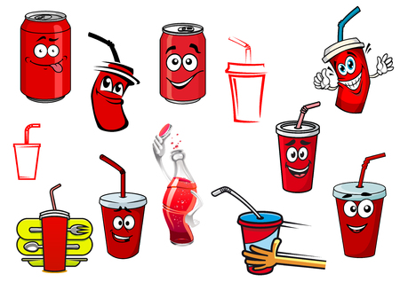 Cartoon cola and soda cans, cups and bottle set for fast food, drink and beverage design Vector