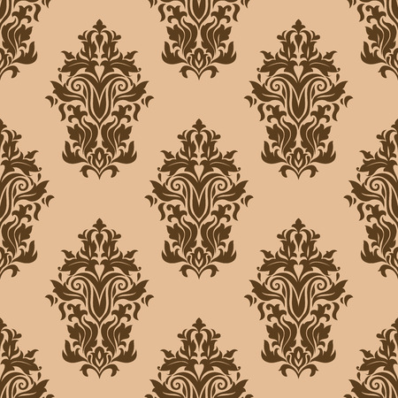 Floral retro dark brown seamless pattern on light brown colored background, for backdrop, wallpapers and textile design Ilustração