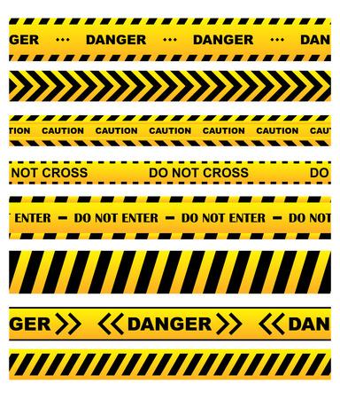 Cintas de advertencia de seguridad amarillo de serie con el texto Precaución, no cruzan, No entre, Peligro. Para páginas web, diseño penal y el derecho