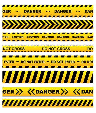 restricted access: Yellow security warning tapes set with text Caution, Do not cross, Do not enter, Danger. For web, criminal and law design