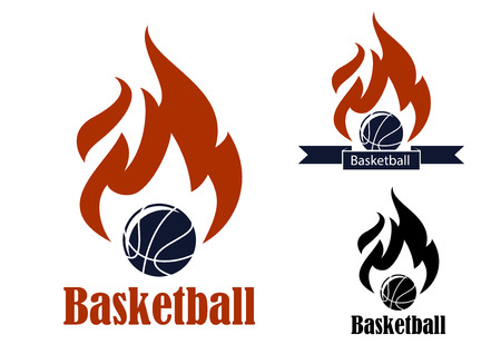basketball ball on fire: Basketball sport emblems with basketball ball