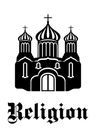 church window: Black and white silhouette temple or church icon with three onion domes and the text Religion for religious and christianity design Illustration