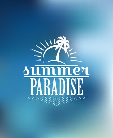 birds of paradise: Beach poster design with sun, sunshine, waves, palm, sky, birds and text  Summer Paradise.