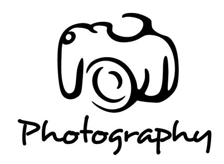 アウトライン スタイルの白い背景で隔離のカメラと写真のエンブレム。  イラスト・ベクター素材