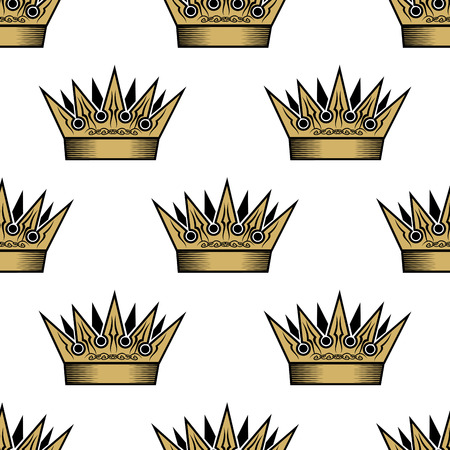 Ornate heraldic seamless pattern of golden royal crowns for wallpaper, tiles and fabric design Vector