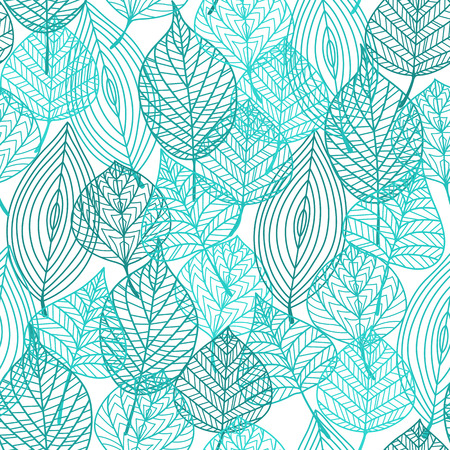 adornment: Foliage green tree leaves seamless pattern in outline style. Suitable for wallpaper, tiles and fabric decoration