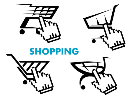 Shopping cart and retail business icons set for sale, web or internet and business design Vector