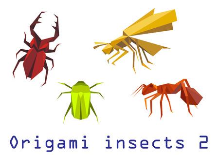 Origami insecten set van staghorn, bijen, mieren en kever geïsoleerd op een witte achtergrond. Stock Illustratie