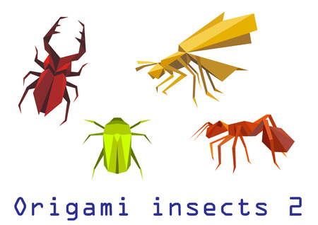 Origami insects set of staghorn, bee, ant and beetle isolated on white background.