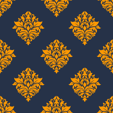 Floral retro orange seamless pattern on indigo or dark blue colored background, for backdrop, tracery wallpapers and textile decoration