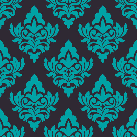 turquoise swirl: Turquoise floral seamless pattern on  dark brown background in damask style, for wallpaper, tiles and fabric ornaments Illustration