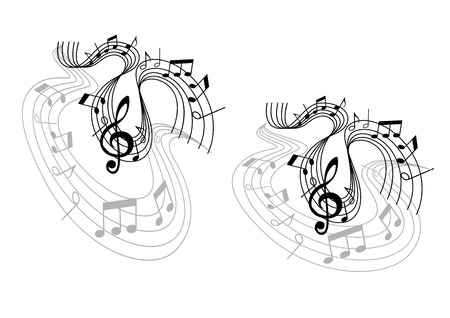 sheet music: Abstract musical waves melody compositions with treble clef, musical notes and wave lines isolated on white background. Can use for art, opera, pop or jazz design  Illustration