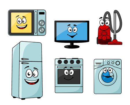 refrigerator: Cartoon household appliances set with microwave, TV, vacuum cleaner, refrigerator, oven and washing machine
