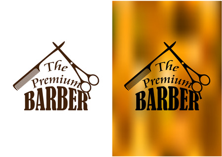 peigne et ciseaux: R�tro salon de coiffure ic�ne, un embl�me ou insigne avec un peigne, ciseaux et le texte Le Barbier premium Illustration
