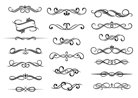 vintage scroll:  Border calligraphic vignette elements set, isolated on white.