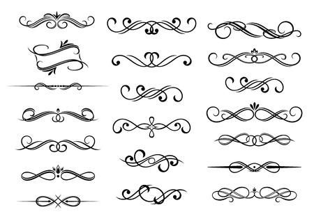 Border calligraphic vignette elements set, isolated on white.