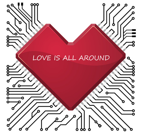 Circuit board with stylized as heart chip.  Vector