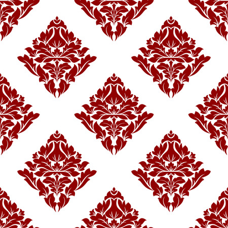 crimson: Floral seamless pattern with maroon or crimson or dark red flowers on white in square format, for wallpaper, background and fabric ornament