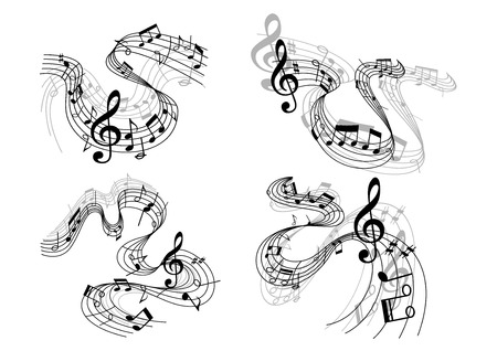 Abstract musical melody compositions with treble clef, musical notes and waves Vector