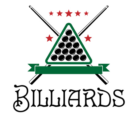 billiards tables: Billiards club emblem with ball, cue, triangle and text