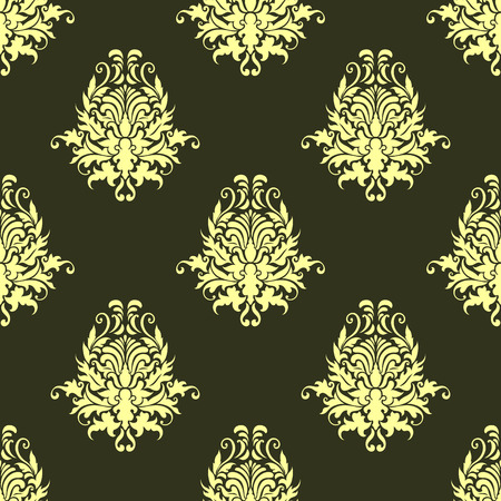 Floral retro yellow or light olive seamless pattern on dark olive green colored background Vector