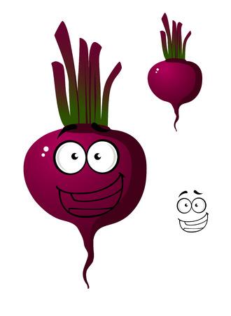 Cartoon smiling beetroot or beet vegetable cute character.