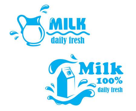 splash milk: Fresh farming milk emblem l with jug, package and text Milk 100 percent Daily Fresh Illustration