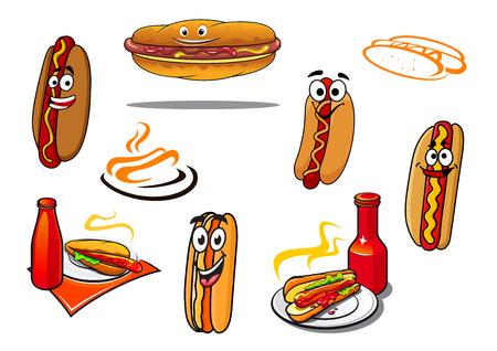 Hotdog cartoon characters and symbols set for fast food Vector