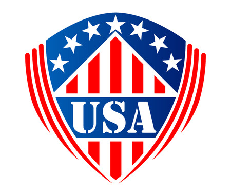 Usa heraldic shield sign or symbol with stripes, stars and text  USA Vector