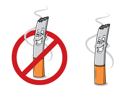 prohibido fumar: Colilla de cigarrillo feliz de dibujos animados con el humo y señal de stop. Para la salud y la antinicotine diseño