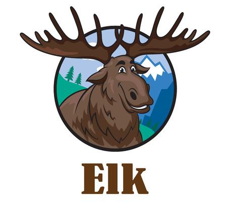 moose symbol: Cute funny cartoon smiling moose or elk with a big horns and mountain landscape. For wildlife design Illustration